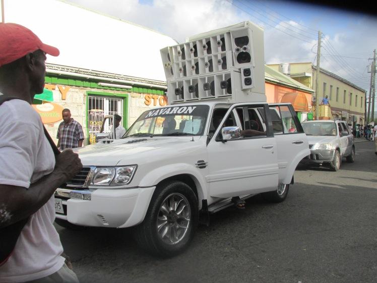 Van with speakers