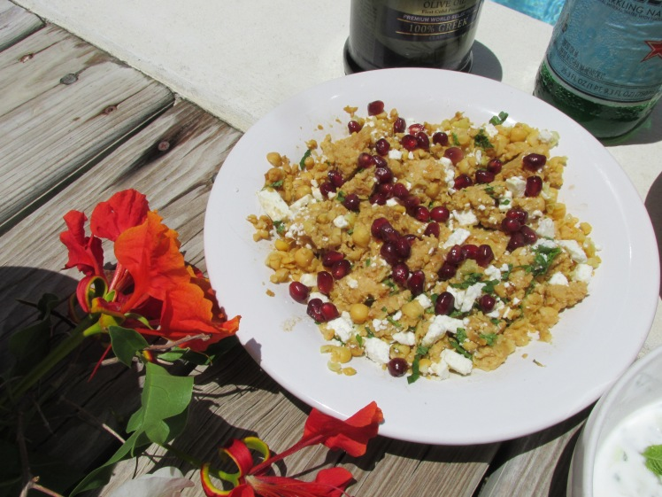 Chickpea, feta and pomegranate dip