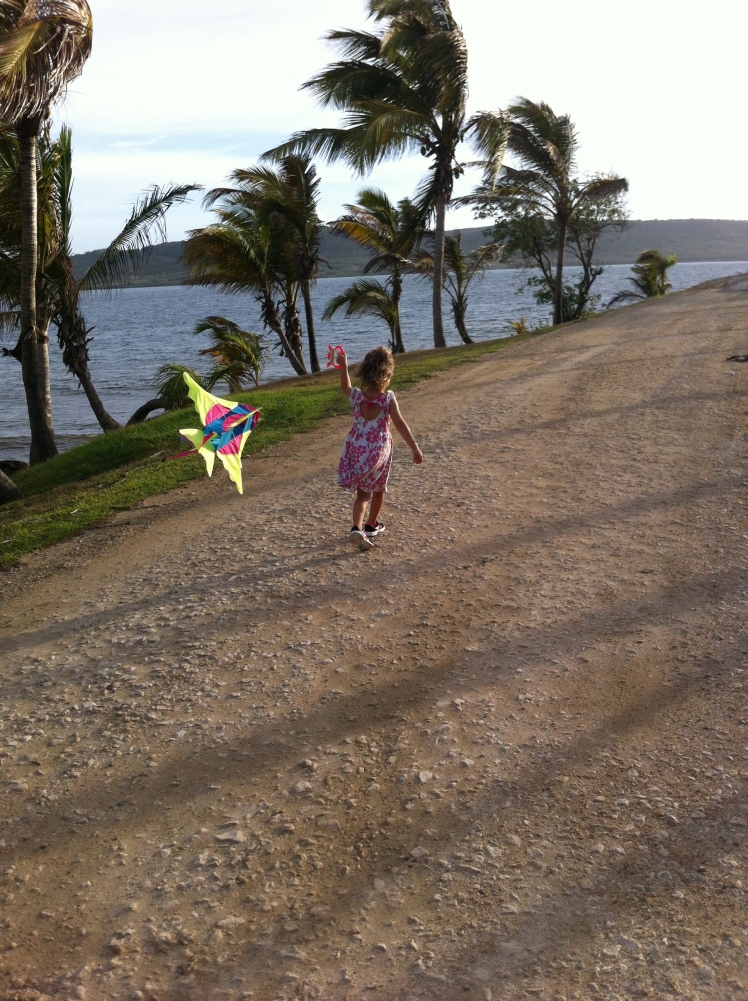 Flying a kite in Antigua