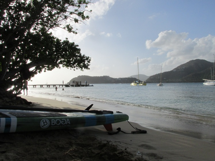 The view from the beach as the sun goes down, Catherine's Café Plage, Antigua, Caribbean.
