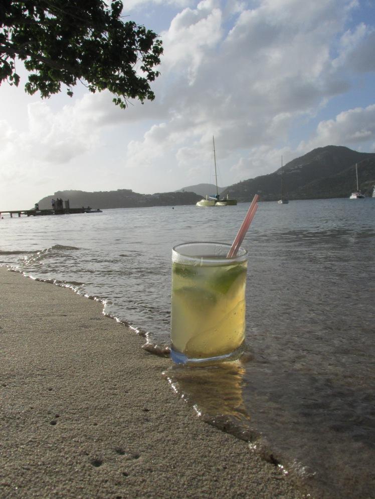 Cocktails on the beach, Antigua, Caribbean