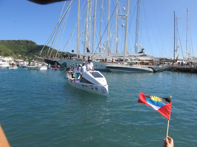 Transatlantic rowers arriving in Antigua