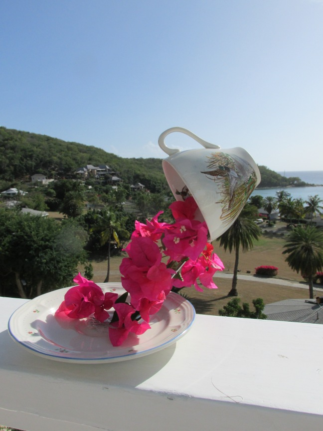 Tropical flower arrangement for a table centrepiece - the dancing teacup