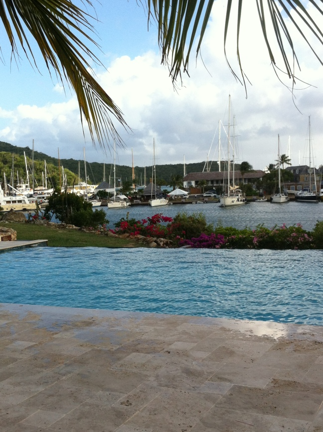 Infinity pool overlooking Nelson's Dockyard at Boom