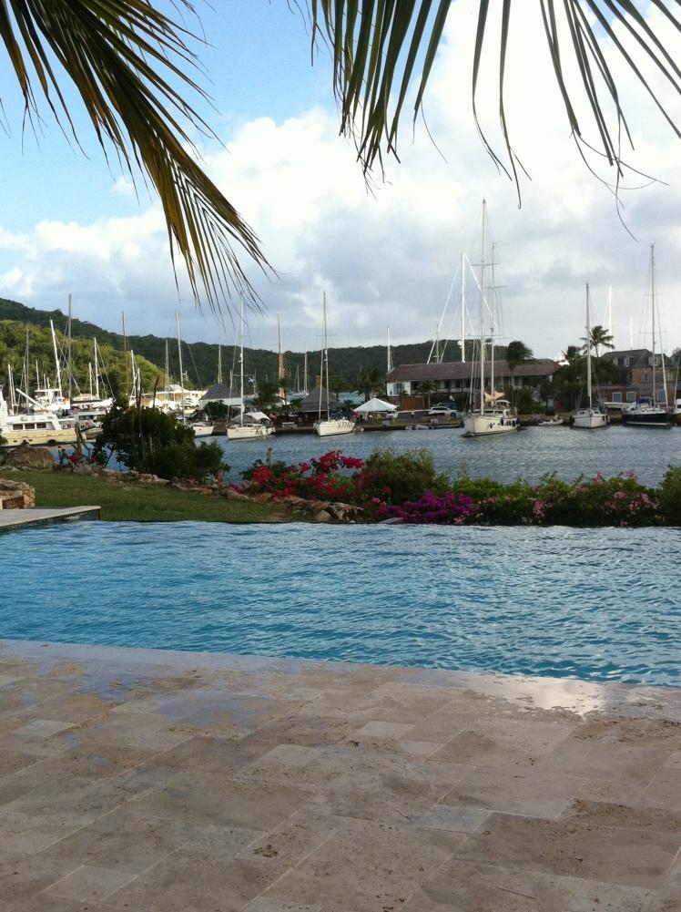 Infinity pool overlooking Nelson's Dockyard at Boom