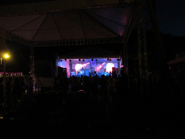 The stage setup in Nelson's Dockyard for the Neon Rave during Sailing Week