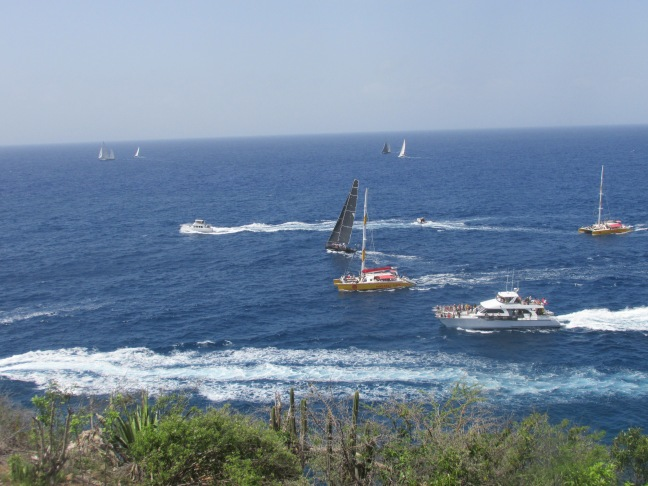 Chase boats getting close to the action at Antigua Sailing Week