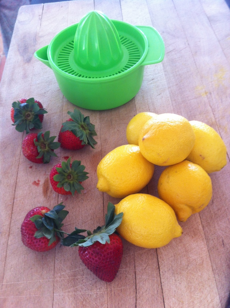 Some fresh strawberries and lemons ...
