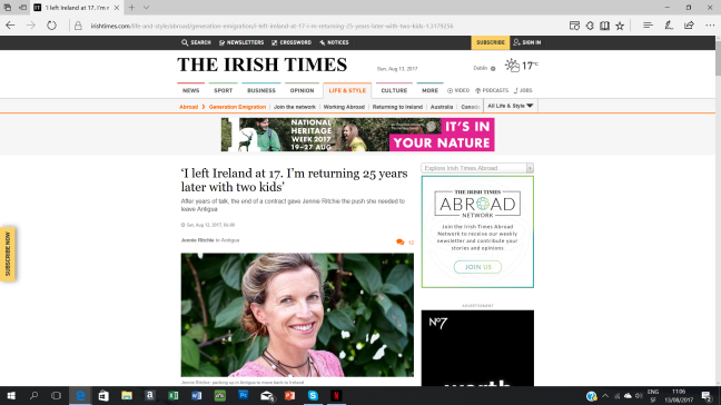 The Irish Times 'I'm returning home'