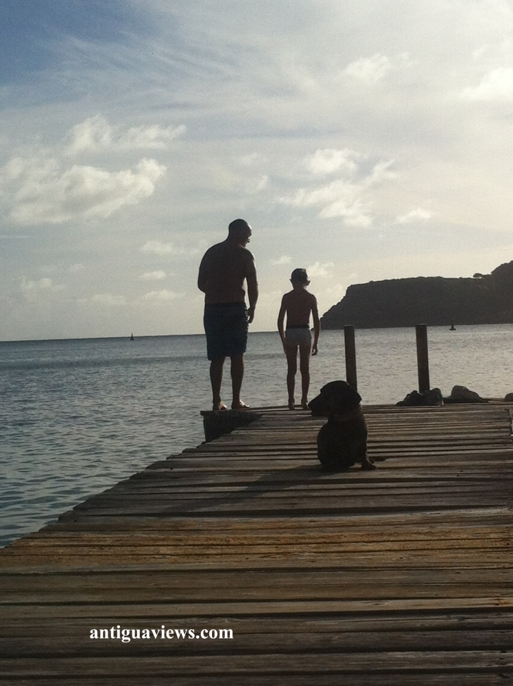 Father and son sharing a moment at sunset, before doing some bombs from the jetty!