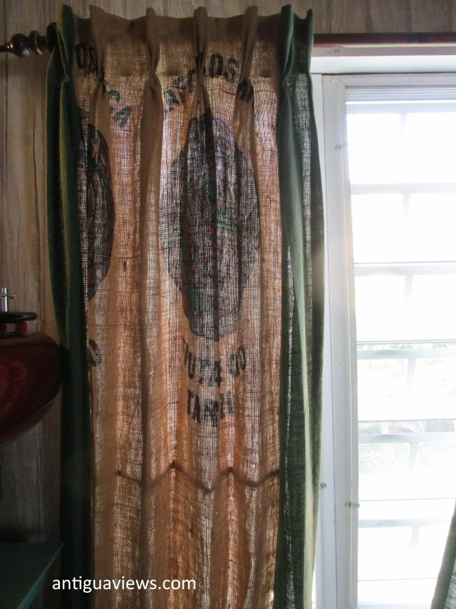 Curtains made from coffee bean sacks