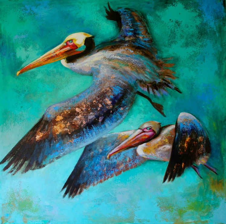 """Flying Pelicans"" by Naydene Gonnella. 45"" x 45""."