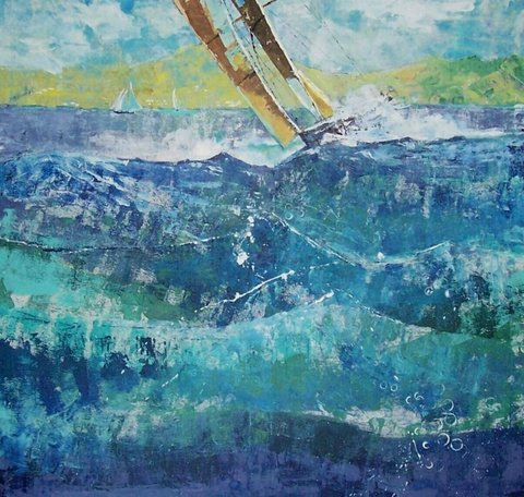 Ocean and sail boats by Jan Farara, painted on commission