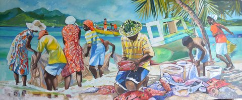 A busy Caribbean scene painted by Jan Farara
