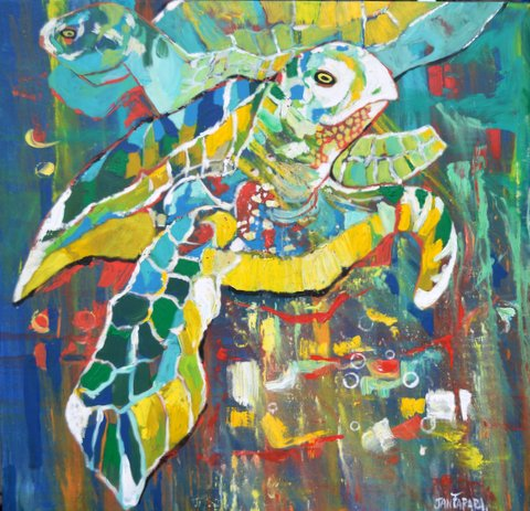 A lushly colourful painting of turtles by Jan Farara