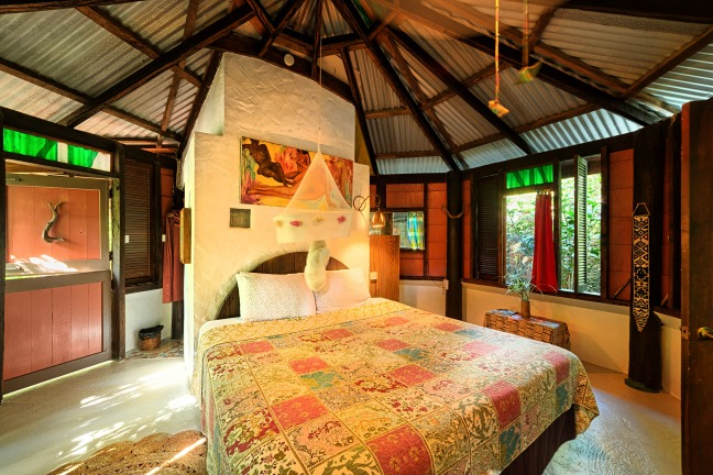 Cottage bedroom, Cocoa Cottages, Dominica