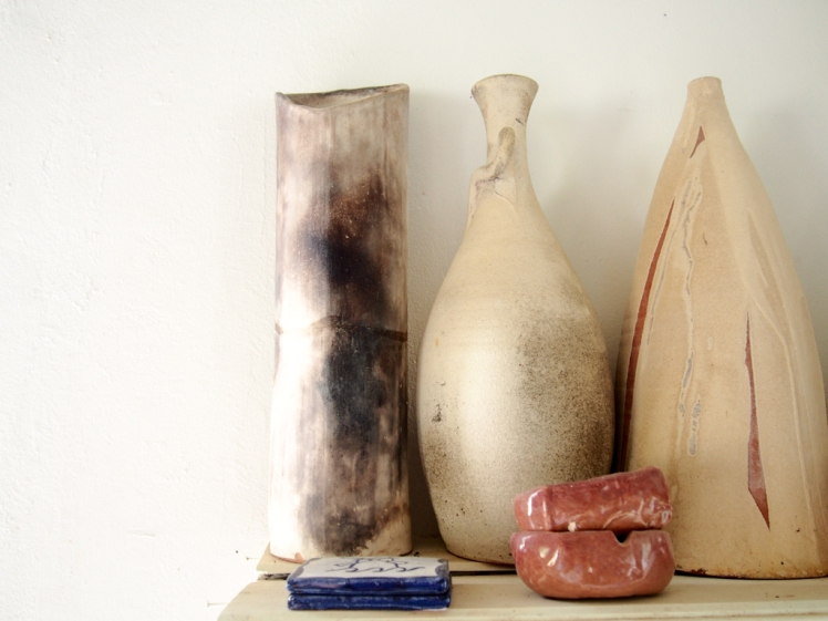 Vases with natural glaze and volcanic ash from Montserrat, by Sarah Fuller Pottery, Antigua. Photo by Jennifer Ritchie.