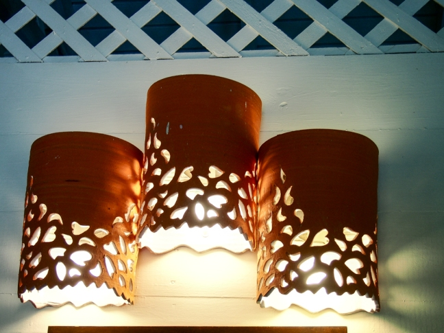 Guest cottage light installation by Sarah Fuller, Antigua.