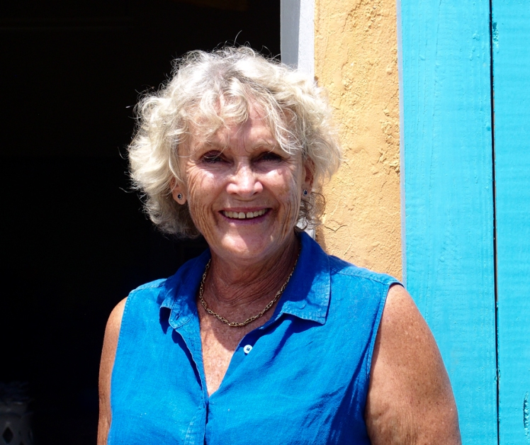 Sarah Fuller of Sarah Fuller Pottery, Antigua, outside her studio in Dutchman's Bay. Photo by Jennifer Ritchie