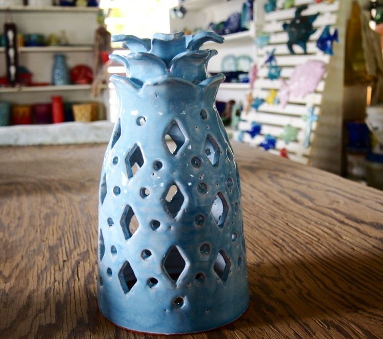 Pottery by Sarah Fuller, iconic pineapple light, Antigua. Photo by Jennifer Ritchie.