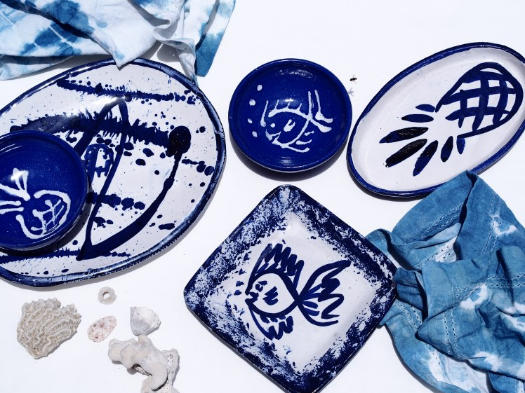 Pottery by Sarah Fuller, white and blue collection, Antigua. Photo by Jennifer Ritchie.