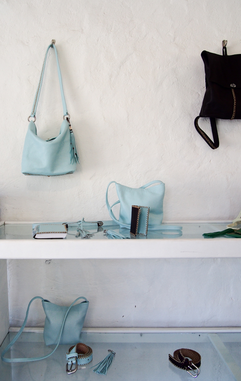The handmade leather designs of Annalea Mills in her studio shop, English Harbour, Antigua